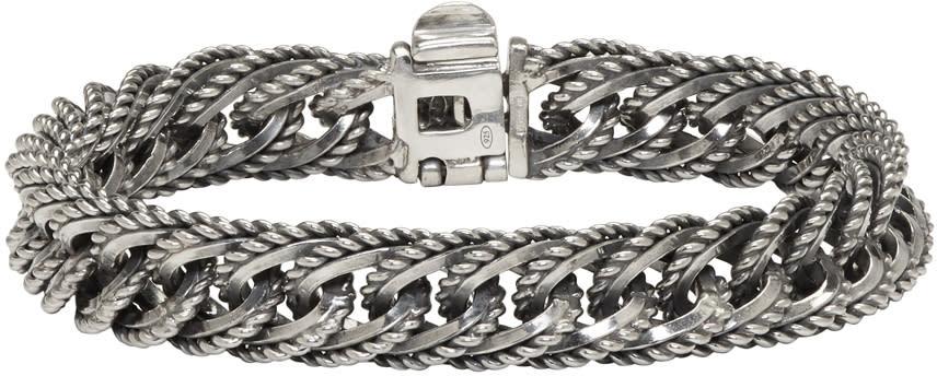 Image of Ugo Cacciatori Silver Fine Chain and Curb Bracelet