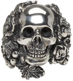 Image of Ugo Cacciatori Silver Skull Foliage Ring