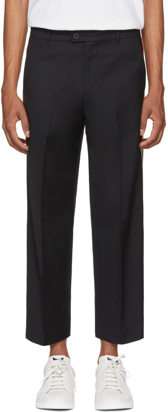 Image of Adaptation Black Tailored Side Stripe Trousers