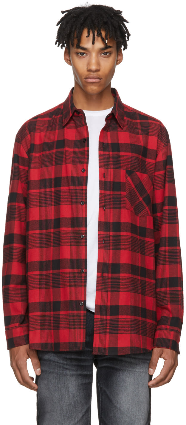 Image of Adaptation Red and Black Plaid Boy Shirt