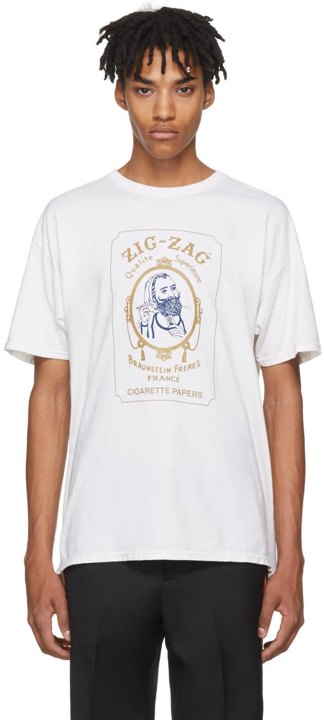 Image of Adaptation White zig Zag Vintage T-shirt