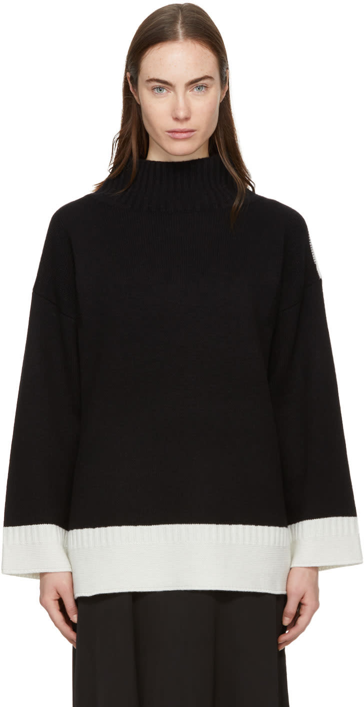 Image of Rag and Bone Black and Ivory Cashmere Aubree Turtleneck