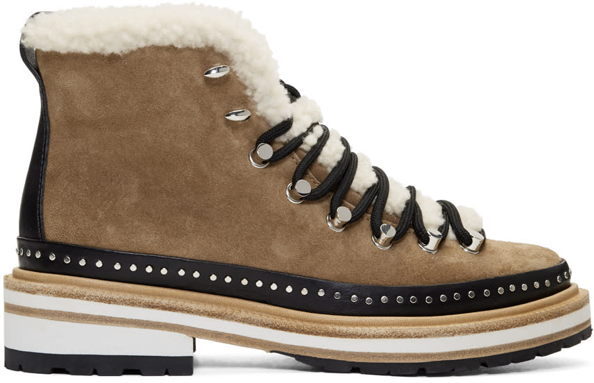 dbc29fb9073 Rag and Bone Tan Suede and Shearling Compass Boots