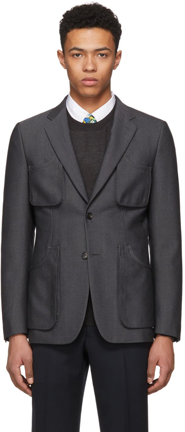 Comme Des Garçons Homme Deux Grey Multi Pockets Blazer