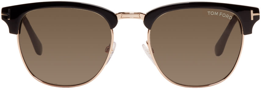 Image of Tom Ford Black and Gold Henry Sunglasses