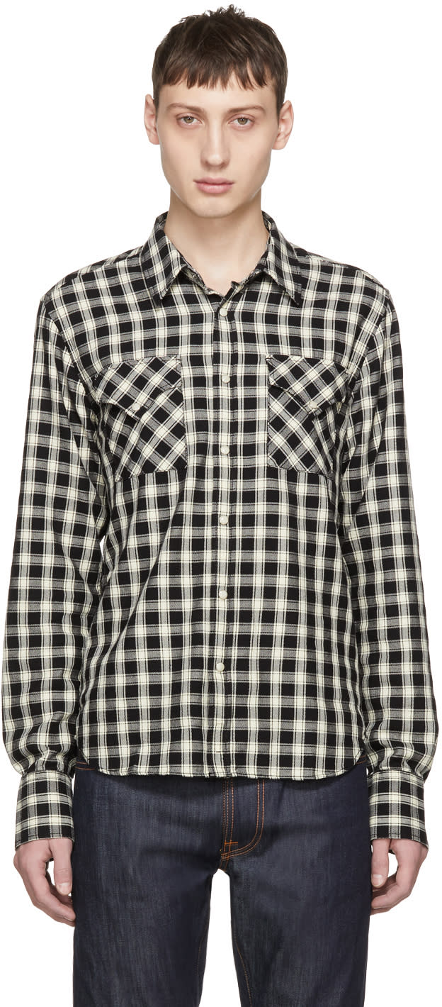 Image of Nudie Jeans Black and Off-white Check Jonis Western Shirt