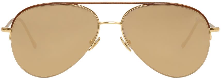 624aa972f496 Belstaff Gold and Brown Phoenix Aviator Sunglasses