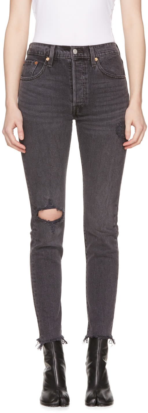 Levis Black 501 Customized Skinny Jeans