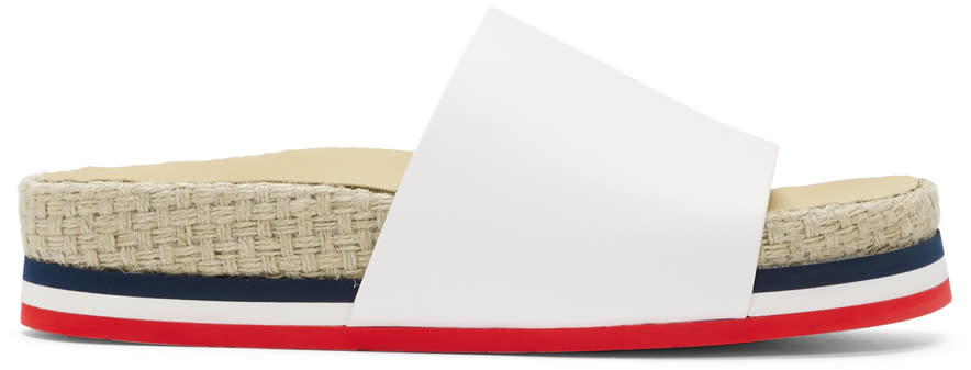 Moncler White Evelyne Slides