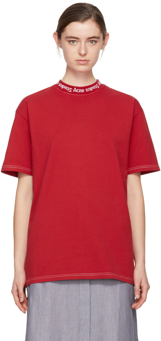 28e61b355404 Acne Studios Red Gojina Dyed T shirt