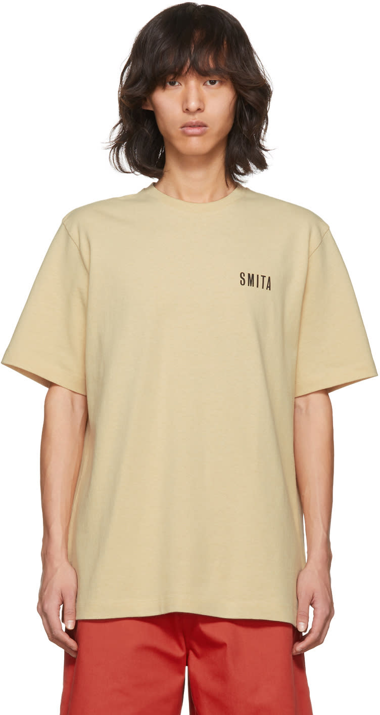 Image of Acne Studios Beige Jaceye smith Print T-shirt