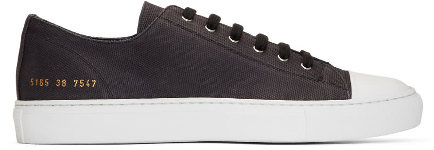 6b58b9321d17 Common Projects Black Canvas Tournament Low Cap Toe Sneakers