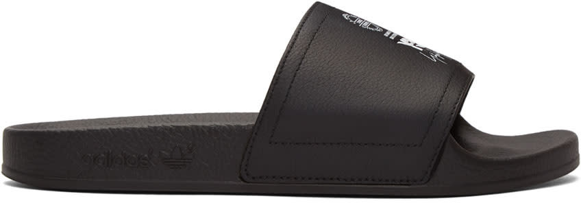 Y-3 Black Leather Adilette Slides