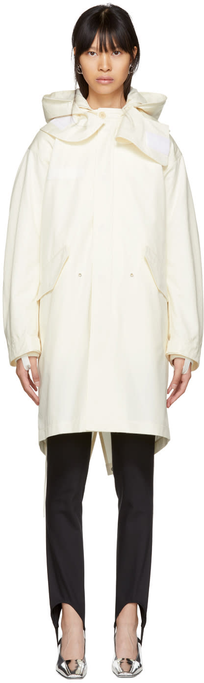 Helmut Lang Off-white Re-edition Shearling Hooded Parka