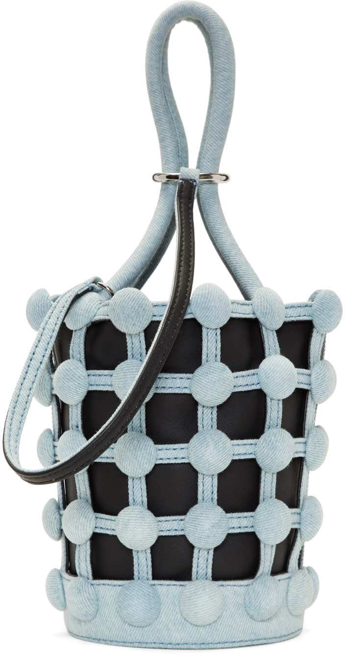 Image of Alexander Wang Black and Blue Denim Mini Roxy Cage Bucket Bag