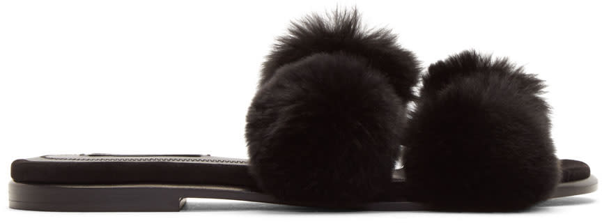 Image of Alexander Wang Black Ava Fur Slides
