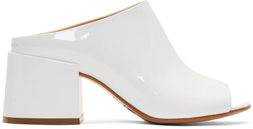 Mm6 Maison Margiela White Patent Flare Heel Mules