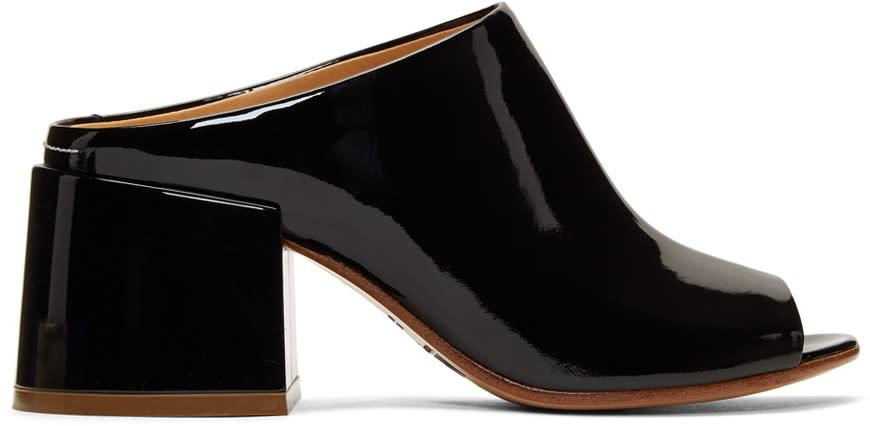 Mm6 Maison Margiela Black Patent Flare Heel Mules