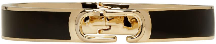 Marc Jacobs Black Double J Hinged Cuff Bracelet