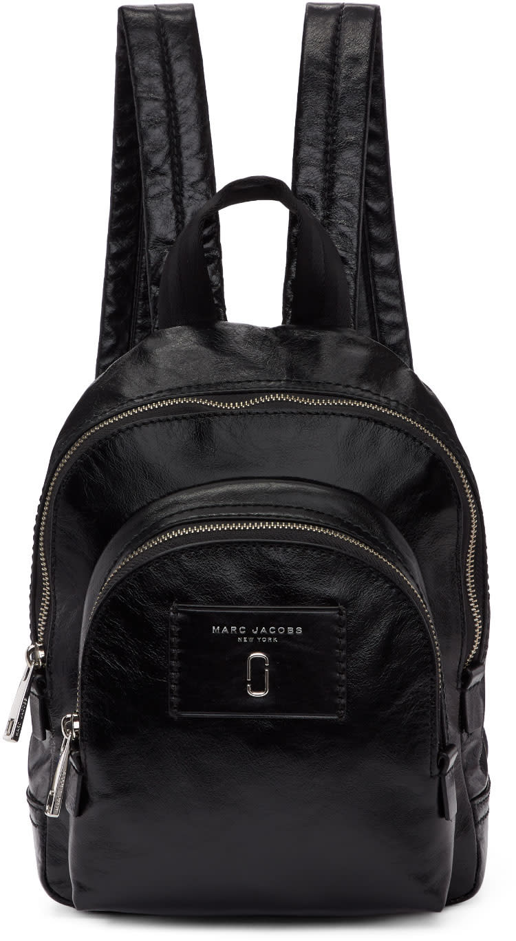 Marc Jacobs Black Leather Mini Double Backpack