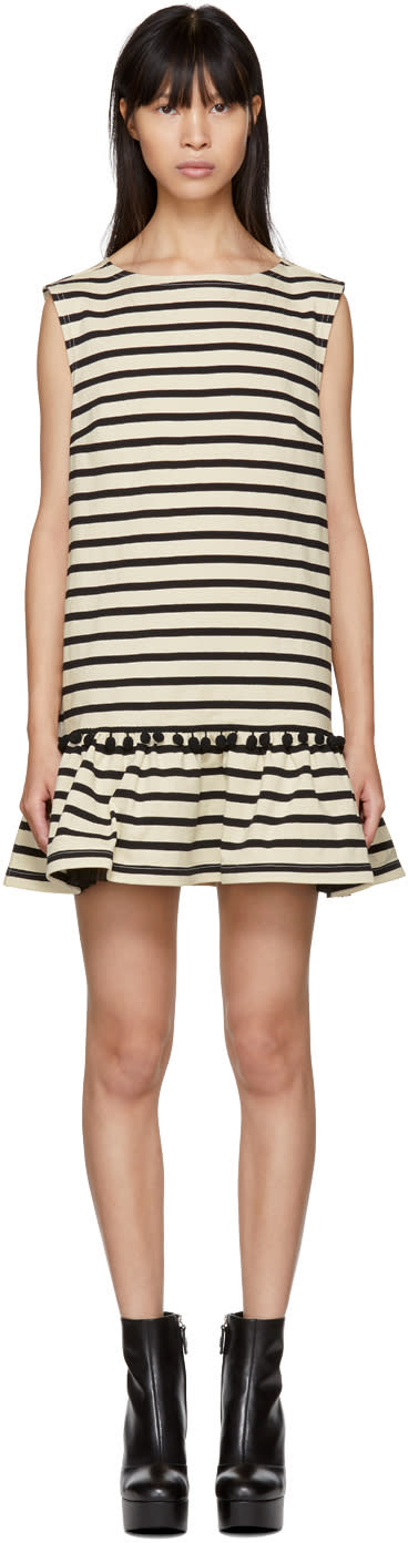 Marc Jacobs White And Black Striped Pom Pom Dress