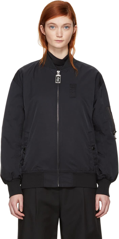Marc Jacobs Black Nylon Bomber Jacket