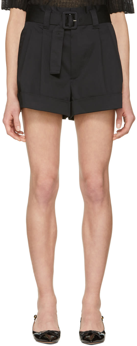 Marc Jacobs Black High Rise Pleated Shorts