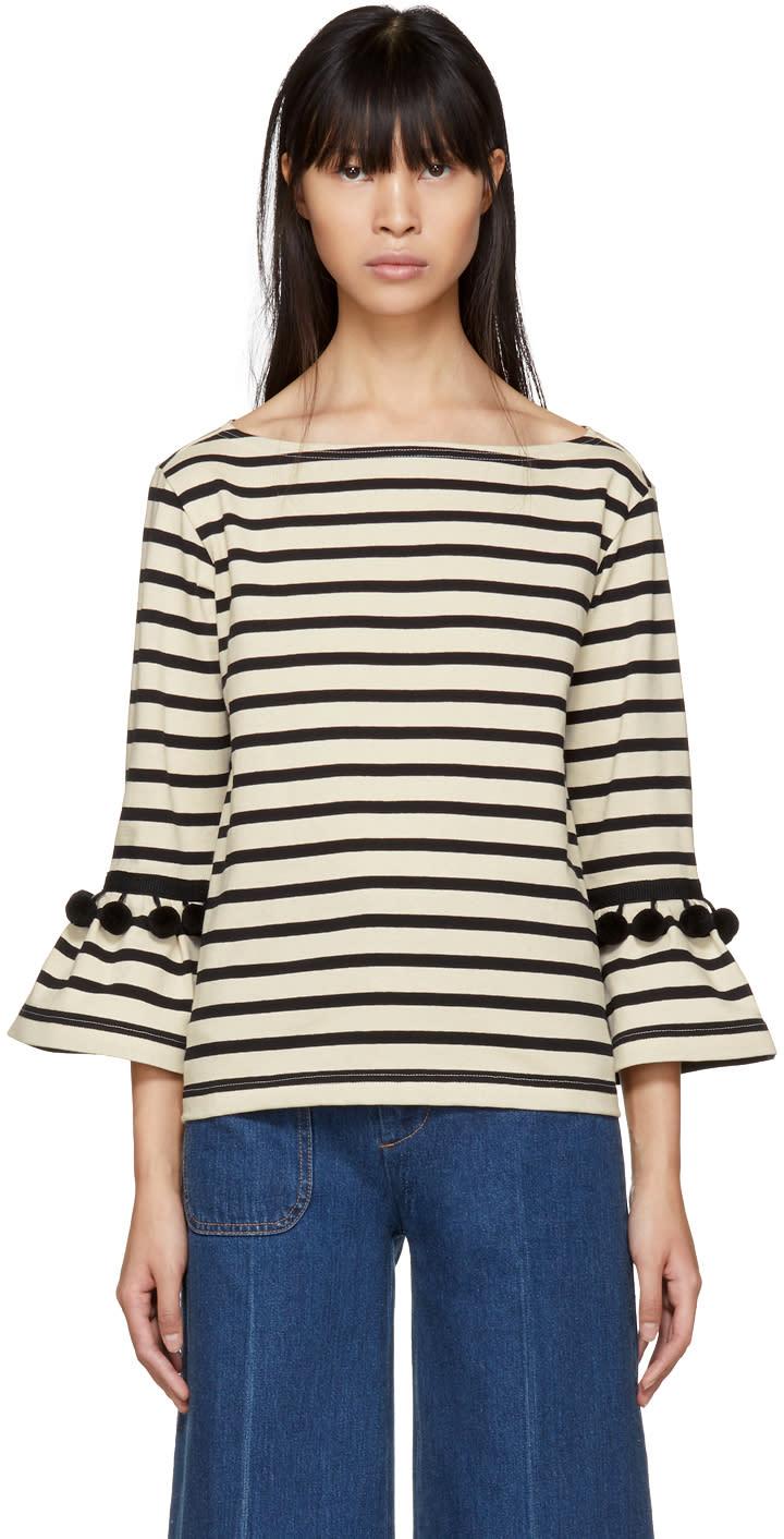 Marc Jacobs White And Black Striped Pom Pom T Shirt