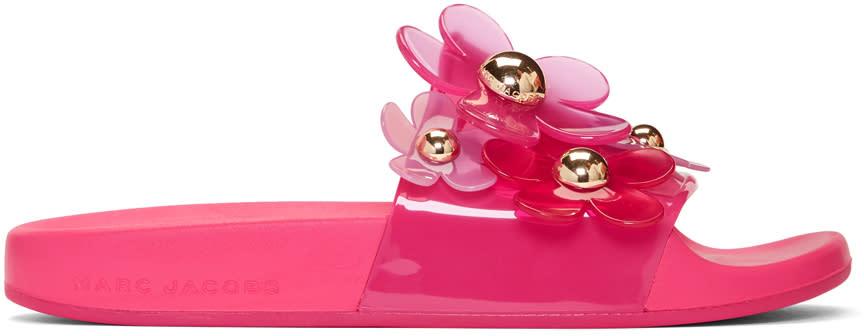 Marc Jacobs Pink Daisy Aqua Slides