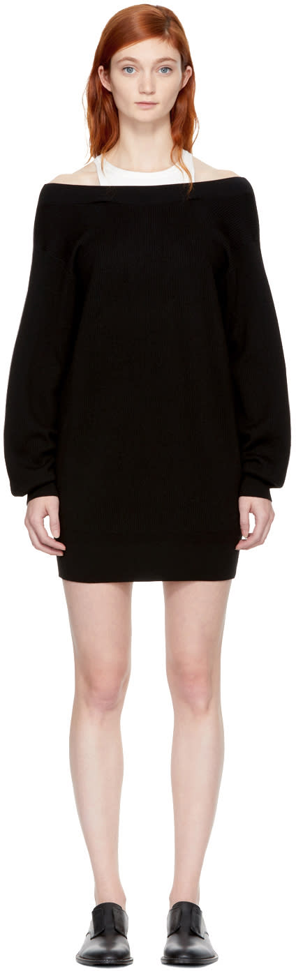 Image of T By Alexander Wang Black and Off-white Bi-layer Dress