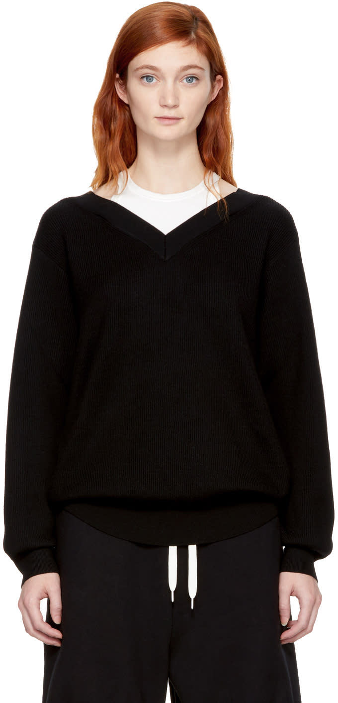 Image of T By Alexander Wang Black and Off-white Bi-layer Off-the-shoulder Pullover