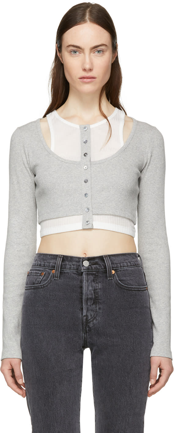 26bc56582561 T By Alexander Wang Grey and Off white Layered Mixed Media Crop T shirt