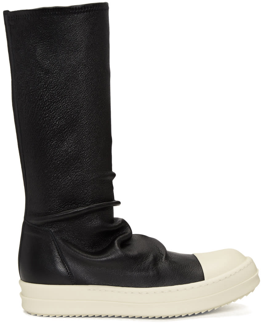 Rick OwensBlack and White Leather Sock Boots