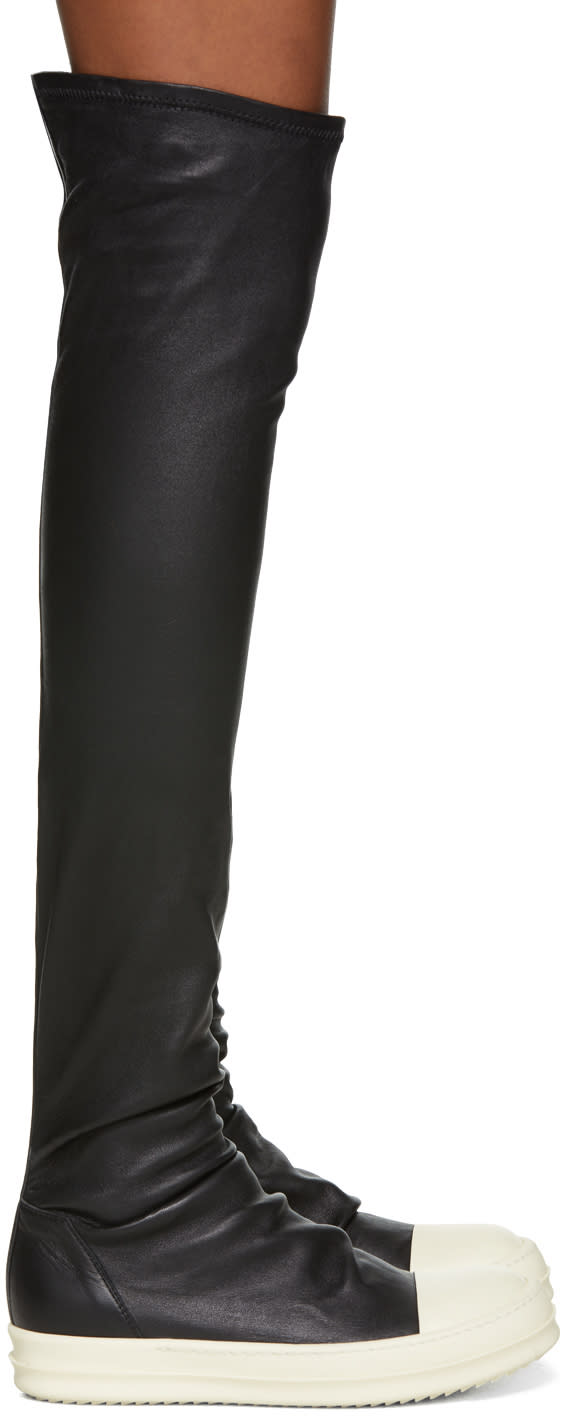 Rick Owens-Black and White Stocking Thigh-high Boots