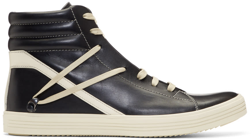 Rick OwensBlack and Off-white Geothrasher High Sneakers