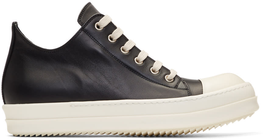 Rick OwensBlack and Off-white Leather Low Sneakers