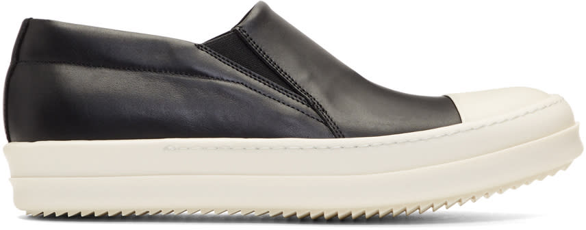 Rick OwensBlack and Off-white Boat Slip-on Sneakers