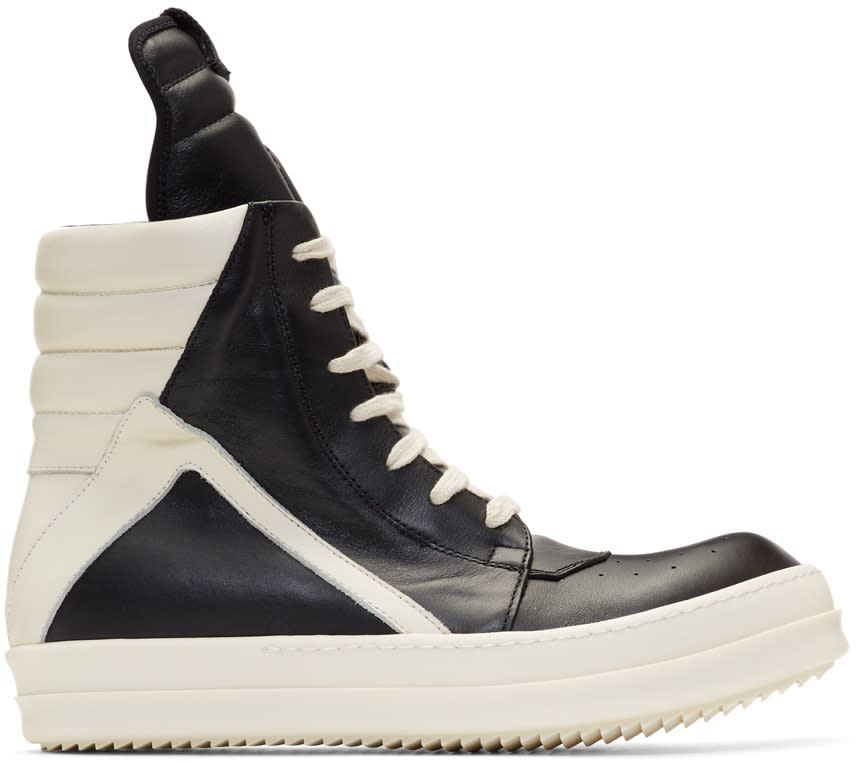 Image of Rick Owens Black and Off-white Geobasket High Sneakers