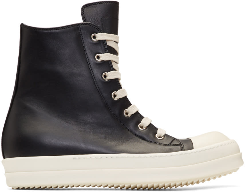 Image of Rick Owens Black and Off-white Leather High-top Sneakers