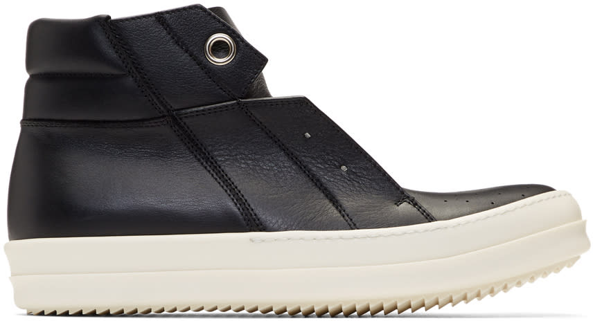 Image of Rick Owens Black and Off-white Island Dunk High-top Sneakers