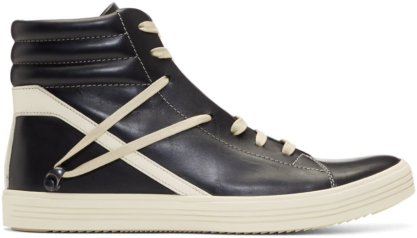 Image of Rick Owens Black and Off-white Geothrasher High Sneakers