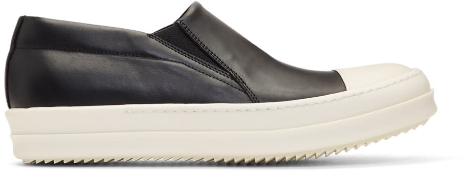 Image of Rick Owens Black and Off-white Boat Slip-on Sneakers