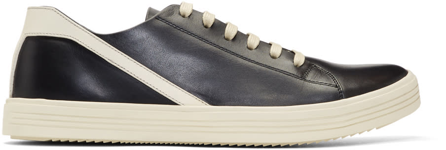 Image of Rick Owens Black and Off-white Geothrasher Low Sneakers