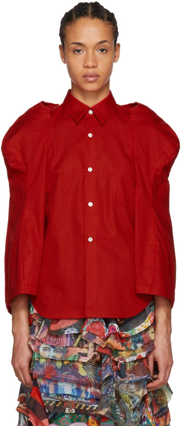 Comme Des Garçons Chemise Rouge Sculptural Sleeve