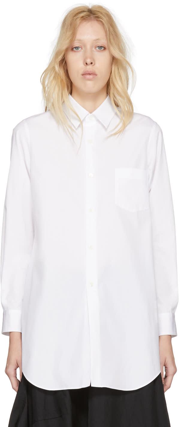 Comme Des Garçons Chemise En Coton épais Blanc Long