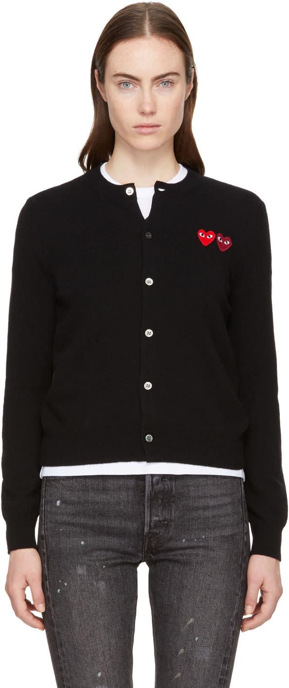 Image of Comme Des Garçons Play Black Double Heart Cardigan
