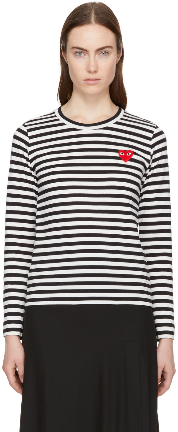 Image of Comme Des Garçons Play Black and White Long Sleeve Striped Heart Patch T-shirt