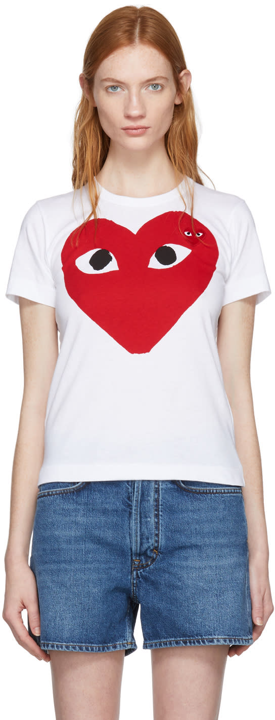 Comme Des Gar�ons Play White Large Double Heart T-shirt