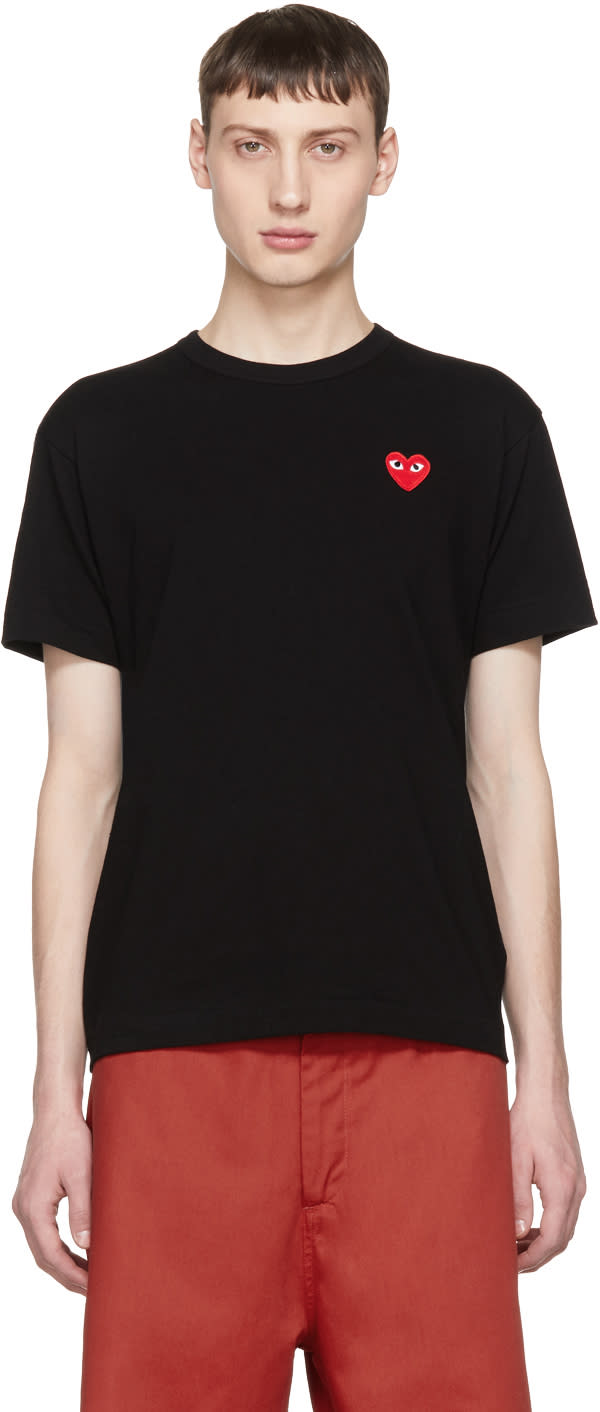 Image of Comme Des Garçons Play Black and Red Heart Patch T-shirt