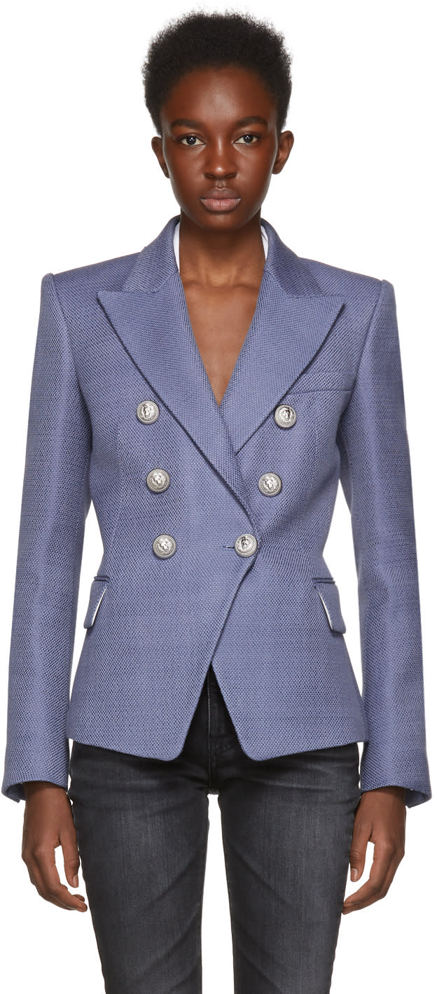 Balmain Blue Six-button Cinch Blazer